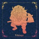 Vikingen, het Decoratieve schilderen Stock Foto