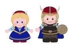 Vikingen, man en vrouw in oude Skandinavische kleding stock illustratie