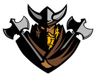 Vikingo/bárbaro con insignia de la mascota de las hachas ilustración del vector
