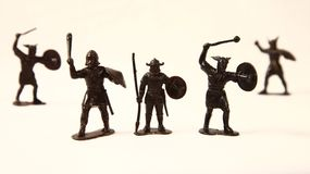 Vikingos, soldados de juguete, retros Foto de archivo libre de regalías