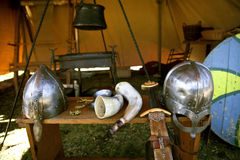 Vikings. Replica Viking attire and equipment at local event Royalty Free Stock Image
