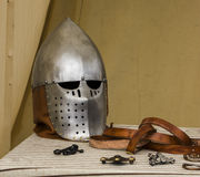 Vikings armour. Medieval viking helmets and belt Stock Photography