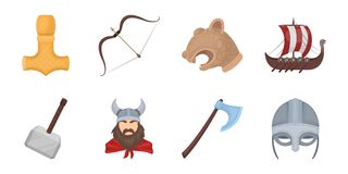 Vikings and attributes icons in set collection for design.Old Norse Warrior vector symbol stock web illustration. Stock Photos