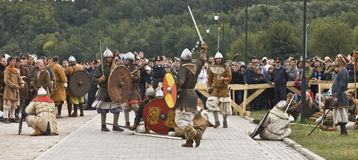 Vikings on boat, historical festival Royalty Free Stock Images