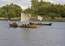 Vikings on boats, historical vestival Royalty Free Stock Image