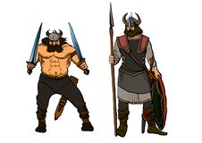 Vikings.brave Berserker with two swords and a warrior with a spear and shield vector illustration
