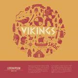 Vikings-background with text area. Handdrawn brochure template. Royalty Free Stock Image