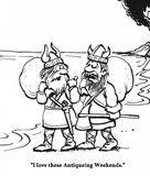 Vikings. Cartoon of Vikings after they pillaged a village Stock Photo