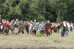 Vikings de attaque chez Moesgaard Photographie stock libre de droits