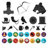 Vikings et attributs noirs, icônes plates dans la collection réglée pour la conception Vieux Web d'actions de symbole de vecteur  illustration de vecteur