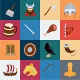 Vikings et icônes de bande dessinée d'attributs dans la collection d'ensemble pour la conception Vieille illustration de Web d'ac illustration libre de droits