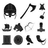 Vikings et icônes noires d'attributs dans la collection d'ensemble pour la conception Vieille illustration de Web d'actions de sy illustration stock