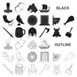 Vikings et icônes noires d'attributs dans la collection d'ensemble pour la conception Vieille illustration de Web d'actions de sy illustration libre de droits