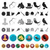 Vikings et icônes plates d'attributs dans la collection d'ensemble pour la conception Vieille illustration de Web d'actions de sy illustration libre de droits