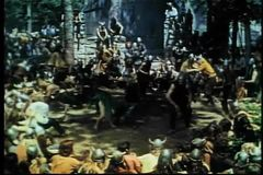 Vikings forcing captive women to dance with them stock footage