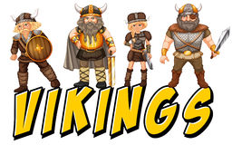 Vikings. Four vikings with text on white Royalty Free Stock Photos