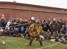 Vikings go fight on the Historical reconstruction Stock Image