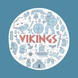 Vikings-handdrawn concept illustration. Stock Photos