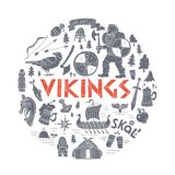 Vikings-handdrawn concept illustration. Royalty Free Stock Images