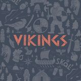 Vikings-handdrawn concept illustration. Stock Images