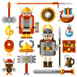 Vikings Icons Set. With sword hammer and shield flat isolated  illustration Royalty Free Stock Photography
