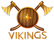 Vikings. Illustration of vikings sheild and axes Royalty Free Stock Photography