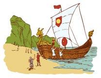 Vikings landing. Ship on the shore of the land royalty free illustration