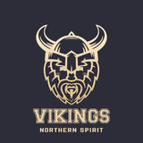 Vikings logo, bearded warrior in horned helmet Royalty Free Stock Photos