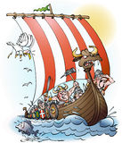 Vikings raid cartoon. Illustration vector drawing Royalty Free Stock Photography