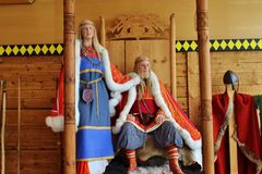 The vikings, a royal couple. Norway. ASVALDNES, NORWAY - AUGUST 3, 2015: In the history center in Asvaldnes on the island Karmoy, Norway, Europe. Presentation royalty free stock photography