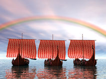 Vikings A'sailin Royalty Free Stock Images