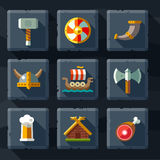 Vikings and Scandinavian items. The food, weapons flat icon set Stock Photos