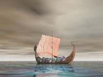 Vikings At Sea. Viking Ship At Sea Royalty Free Stock Image