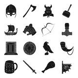Vikings set icons in black style. Big collection of vikings vector symbol stock illustration Stock Photo