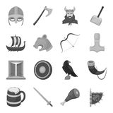 Vikings set icons in monochrome style. Big collection of vikings vector symbol stock illustration Stock Photography