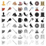 Vikings set icons. In cartoon design. Big collection of vikings vector symbol stock illustration Royalty Free Stock Photography