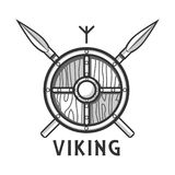 Vikings shield with two crossed spears and small rune Royalty Free Stock Images