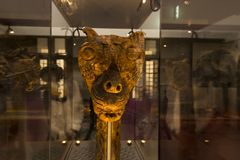 Attractive wood work dragon head at viking ship museum royalty free stock photography
