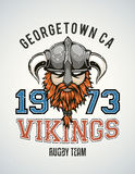 Vikings team poster. Cool and tough sports team vector logo with a brutal viking warrior with a horned helmet and a red beard. Sample text goes around the badge Stock Photo