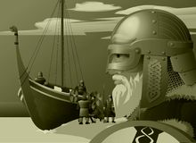 Vikings. Vector illustration The Vikings explore the northern lands Royalty Free Stock Photography
