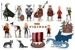 The Vikings. Viking cartoon characters. Vector illustration. Flat style Stock Image