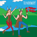 Vikings warriors nordic boy and girl, scandinavian man and woman in helmet. Norwegian culture and nature, Morway landscape Stock Image