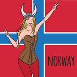 Vikings warriors nordic girl, scandinavian woman in helmet. Norwegian culture, Morway Stock Images