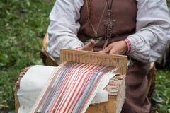 Vikings woman weaver Stock Photography
