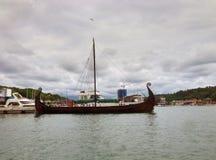Vikingship Gaia nel porto di Sandefjord Fotografia Stock Libera da Diritti