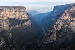Vikos Canyon. A panoramic photo of vikos canyon in eripus greece Stock Photos