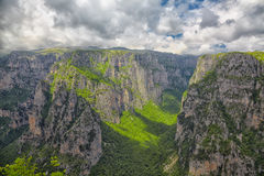 Vikos gorge. Overcast landscape in summer of the Vikos Gorge in Greece Stock Photography