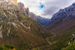 View of Gorge of Vikos in winter in Epirus of Greece royalty free stock photo
