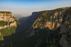 Vikos Gorge as seen from Beloi Viewpoint in Morning,Golden Hour Summer colors. royalty free stock photo