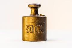 Vikt för kalibrering för halvt kg för tappning guld- Royaltyfria Bilder